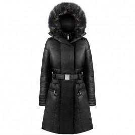Womens black down coat with fake fur
