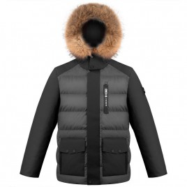 Mens down jacket Graphite Grey/Black with natural fur