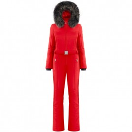 Womens stretsh ski overall scarlet red with natural fur