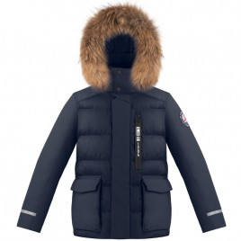 Boys down jacket gothic blue with natural fur