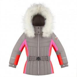Girls jacket soba brown/multi with fake fur
