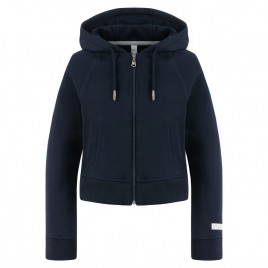 Girls blue cotton jacket with hoody