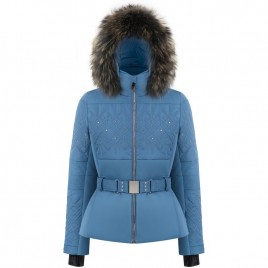 Womens jacket fancy twilight blue with natural fur