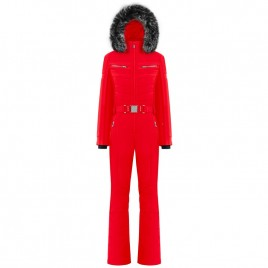 Womens overall scarlet red with fake fur