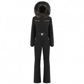 Womens black overall with natural fur