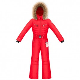 Girls overall scarlet red with fake fur