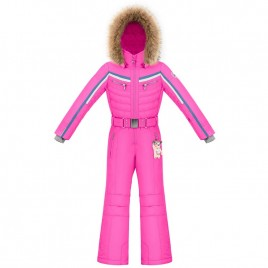 Girls multico pink overall with fake fur