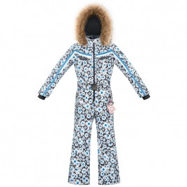 Girls ski overall daisy blue with fake fur