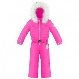 Girls overall rubis pink with fake fur