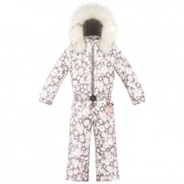 Girls overall daisy pink with fake fur