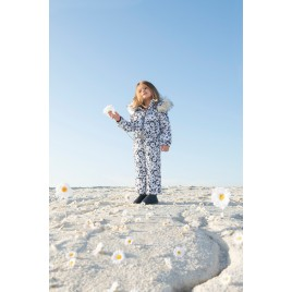 Girls overall daisy blue with fake fur