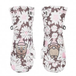 Girls daisy pink mittens
