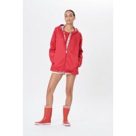 Womens rain jacket silver cherry red
