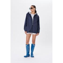 Womens rain jacket silver oxford blue