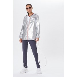 Womens rain jacket glossy glow grey