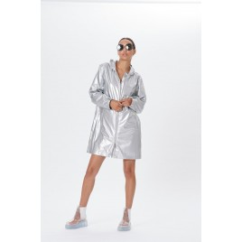 Womens glow grey glossy raincoat