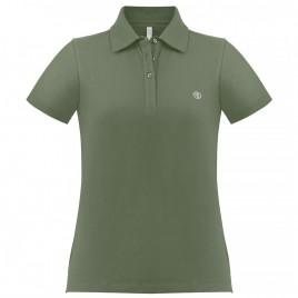 Womens cotton polo shirt peacock green