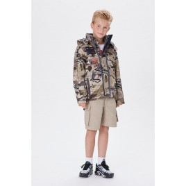 Boys 3-in-1 parka camouflage camou gold