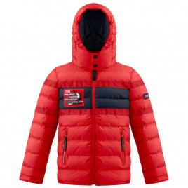 Boys padded jacket cherry red/oxford blue