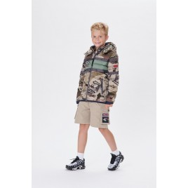 Boys padded jacket camouflage gold/peacock green