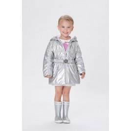 Girls glossy coat glow grey