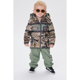 Boys padded jacket camou gold/peacock green