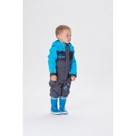 Boys rain overall carbone grey /creamy blue